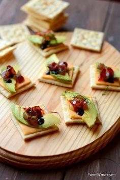 Avocado and Cheese Cracker Bruschetta | 12 Bite-Size Cracker ...