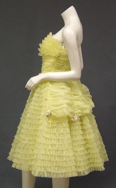 Vintageous, LLC - RUFFLES!  Yellow Nylon Strapless Vintage Prom Dress w/ Wrap, $229.00 (http://www.vintageous.com/ruffles-yellow-nylon-strapless-vintage-prom-dress-w-wrap/)