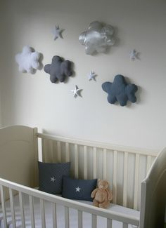 Decoration murale chambre bebe garcon ration pour garcon ration on d Baby Boy Rooms, Baby Bedroom, Baby Room Decor, Baby Boy Nurseries, Nursery Room, Kids Bedroom, Nursery Decor, Clouds Nursery, Kids Rooms