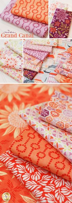 Grand Canal - Moda Fabrics Create a gorgeous quilt with bold, summery colors using the Grand Canal collection from Moda Fabrics. This vibrant collection incorporates colors like Amelia Apricot, Clementine, and Violet in its passionate designs. Select a street scene of the Grand Canal and pair it with a contemporary floral or tonal design. Designed by Kate Spain, this collection is youthful, energetic, and exciting. This new collection from Moda is available at Shabby Fabrics!