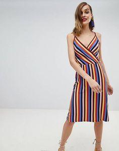 Warehouse Rainbow Strappy Wrap Dress