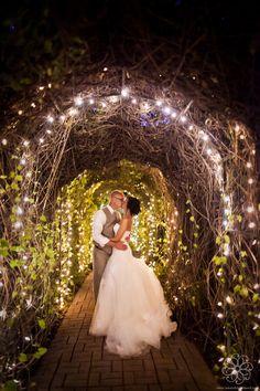 Bride & Groom in lit garden @ riverwoodmansion.com | Photo by jenandchriscreed.com