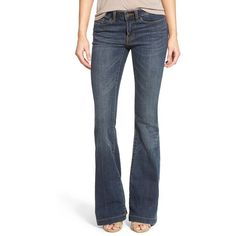 Junior BP. Mid Rise Flare Jeans ($68) ❤ liked on Polyvore featuring jeans, dark bloom, flared jeans, faded jeans, blue jeans, mid-rise jeans and faded blue jeans