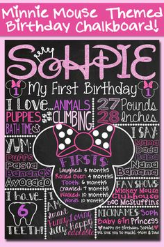 Pink Glitter Minnie Mouse Themed First Birthday Chalkboard Poster via CustomChalkPosters. Great for Minnie Mouse themed 1st Birthday Party!