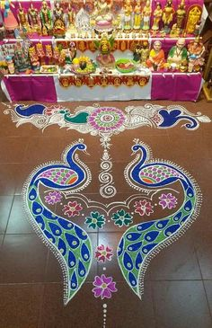 Peacock Rangoli, Rangoli Designs, Creative, Decorations, Dolls, Beautiful, Art, Baby Dolls, Art Background