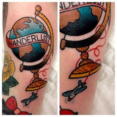 I love this globe and travel design tattoo! I just can't decide where on my body I should put it... http://elsancheztattooer.tumblr.com/