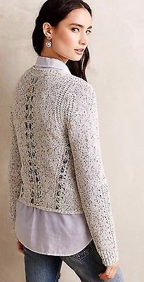 Anthropologie Knitted & Knotted RIBBON RIPPLES SWEATER Medium ~NWOT