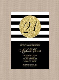 Gold 21st Birthday Party Invitation, Black and White Stripes, 21st Birthday…  https://www.djs.durban