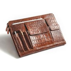 Crocodile-Pattern Brown Leather Portfolio Case With Organizer Pockets