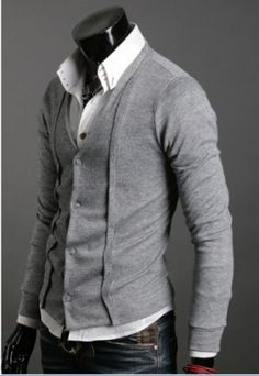 wholesale Fashion Pure Color Slim V-Collar Cardigan Light Grey