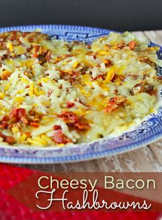 This is a delicious Cheesy Bacon Hashbrowns Recipe! If you love hash browns, bacon and cheese, trust me this will be a HUGE hit for breakfast!