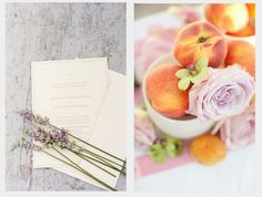 spring wedding palette lavender | lavender, a punch of bright peach, and muted sage make this spring ...