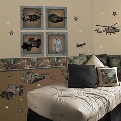 Maybe some military themed wall decals for Lucas' room.
