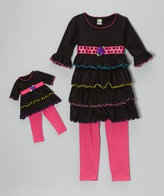 Black & Pink Ruffle Tunic Set & Doll Outfit - Toddler & Girls by Dollie & Me #zulily #zulilyfinds