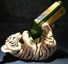Tiger Wine Bottle Holder White Snow Tiger w Blue Eyes | eBay