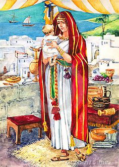 Ancient Israel. (Rich) female villager with Levantine architecture (Houses) in the back