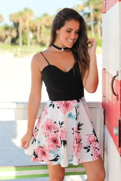 Black Short Dress with Floral Skirt