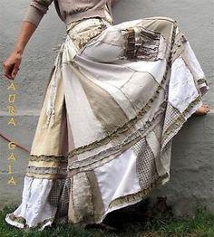 AuraGaia ~Le Soleil~ Poorgirl BoHo Bustleback Upcycled Tiered Skirt S-2X Plus