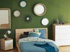 Miroirs ronds vintage mur vert militaire peinture