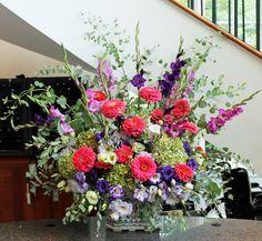 Arrangement from August 27, 2013: zinnias, gladioli, lisianthus, hydrangea, and eucalyptus