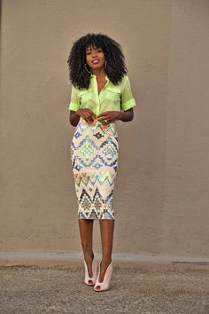 Neon Blouse + Aztec Print Sequinned Midi Skirt