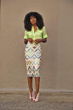 Neon Blouse + Aztec Print Sequinned Midi Skirt