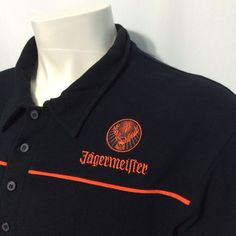 Jagermeister Large Casual Golf Polo Embroidered Black Shirt Bartender Jager Bomb #Jagermeister #PoloRugby