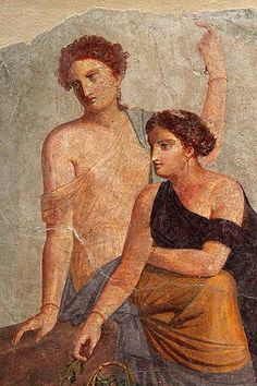 Ancient History Painting -                                                              *POMPEII, ITALY ~ around 30-50 AD Fragment of wal painting, Bacchus cult scene? (Fragment of mural)