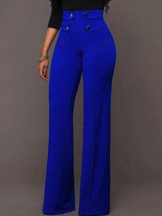 Shop Stylish Buttoned High Waist Wide Leg Pants right now, get great deals at Joyshoetique. Shop Stylish Buttoned High Waist Wide Leg Pants right now, get great deals at Joyshoetique. Classy Outfits, Stylish Outfits, Cute Outfits, Stylish Clothes, Bright Blue Pants, Fashion Pants, Fashion Dresses, Elegantes Outfit, Pants For Women