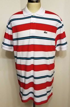 NWT Lacoste Mens Slim Fit Polo Shirt Red White Blue Striped Croc Logo Size 9 4XL #Lacoste #PoloRugby