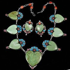 Clarissa-Hale-Green-Gaspiete-Navajo-Heart-Necklace-Earring-SET-Squash-Blossom