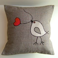 Tweet Appliqued Bird & Heart Leaf (Tw21)