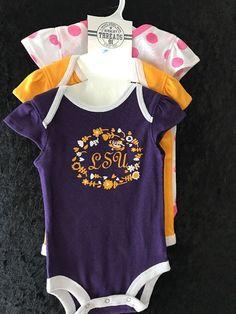 BABY GIRLS ONESIE SET NCAA LSU Tigers 3 Piece Short Sleeve Bodysuit Set 6-9M NWT #RivalryThreads91 #LSUTigers