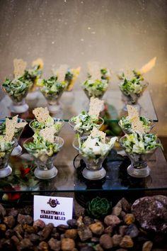 Caesar Salads on martini glasses.........hmmmmmmmmm