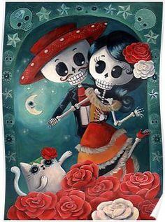 Dia de Los Muertos Couple of Skeleton Lovers Poster