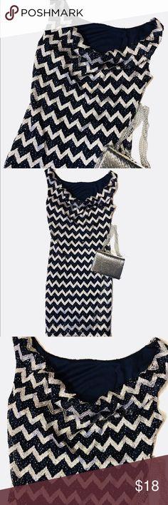 Nwt Navy silver zig zag dress Stunning  Navy/silver Sz 5/6  53% nylon  40% polyester 5% metallic  2% spandex Slouch neckline Jump Dresses