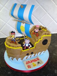 Jake and the neverland pirates cake. By: chocchippy birthday ideas Make Birthday Cake, Pirate Birthday, Pirate Theme, Pirate Party, 3rd Birthday, Birthday Ideas, Jake Cake, Cakes For Boys, Boy Cakes