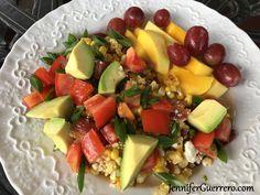 Jen's Taco Corn Brunch. www.JenniferGuerrero.com Paleo, Keto, Whole 30, Fruit Salad, Bacon, Brunch, Vegetarian, Cheese, Breakfast