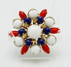 Vintage Brooch Red White and Blue
