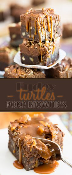 Fudgy and intensely chocolate-y, topped with a delicious caramel frosting, stuffed with loads of Turtles minis and pecans and oozing with the most delicious caramel sauce, these Turtle Poke Brownies are an experience your taste buds won't soon forget!