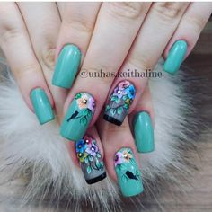 Por:@unhas.keithaline Cute Nails, Pretty Nails, Diy Nail Designs, Ale, Polish, Color, Green, Luxury Nails, Chic Nails