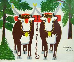 Maud Lewis Folk Art Oil Painting Oxen in Winter Landscape c. 1960