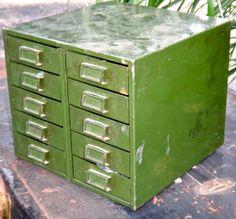 Retro Metal Drawers Vintage Metal Storage by CasaKarmaDecor, $74.00