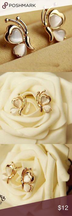 Golden Butterfly earrings Golden butterflies with white opal stones. Pierced Jewelry Earrings