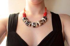 Coral necklace batik bone beads African jewelry door EnyoJewelry, $69.00