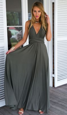 Gray Versatile Crossover Prom Maxi Dress – Jassie Line Cute Dresses, Beautiful Dresses, Prom Dresses, Dress Prom, Long Dresses, Dress Long, Dress Skirt, Dress Up, Dress Night