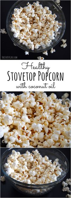 Healthy Stovetop Popcorn made with coconut oil! This is the BEST popcorn you'll ever make!