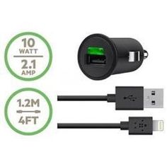 Adaptador y Cargador Belkin Car Charger + Lightning ChargeSync Cable  Adaptador de corriente - automóvil - 10 vatios - para Apple iPad mini; iPad with Retina display (4th generation); iPhone 5; iPod nano (7G); iPod touch (5G).  PRECIO: 29.95€