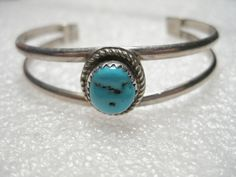 Vintage Sterling Silver Youth Cuff Bracelet, Sawtooth Turquoise, signed J,.72ozt #signedJ