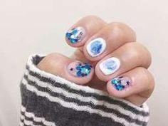 กากเพชรกับเล็บสั้น Star Nails, Glitter Nail Art, Little Star, Twinkle Twinkle, Aqua, Cartoon, Painting, Beauty, Water